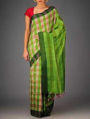 Green-Beige Tussar Dupion Silk Handwoven Saree