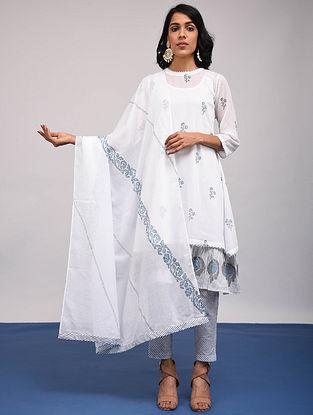 White-Blue Block Printed Cotton Dupatta