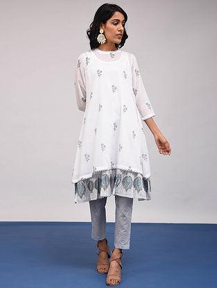 BHARANI - White-Blue Block Printed Cotton Kurta with Slip
