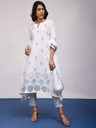 KRITTIKA - White-Blue Block Printed Cotton Kurta