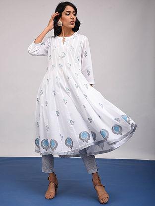 ROHINI - White-Blue Block Printed Cotton Kalidar Kurta