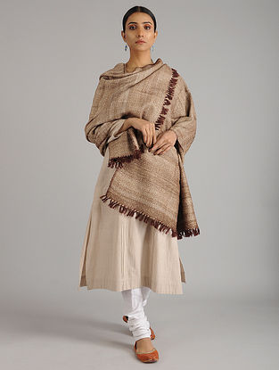 Brown Handwoven Silk Wool Shawl