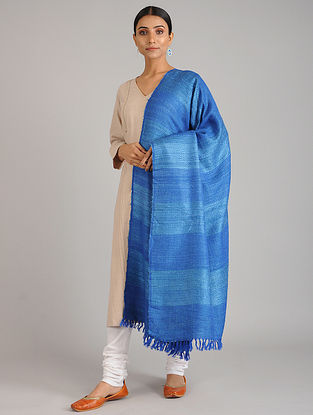 Blue Handwoven Silk Wool Shawl