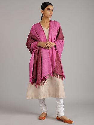 Pink-Maroon Handwoven Silk Wool Shawl
