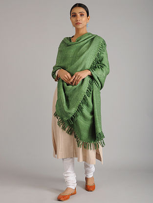 Green Handwoven Silk Wool Shawl