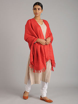 Coral Handwoven Silk Wool Shawl