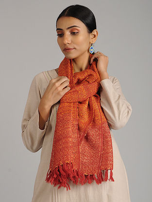 Orange-Red Handwoven Silk Wool Stole