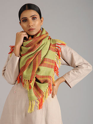 Green-Orange Handwoven Silk Wool Stole