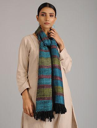 Blue-Green Handwoven Silk Wool Stole