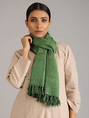 Green Handwoven Silk Wool Stole