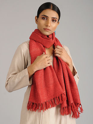 Red Handwoven Silk Wool Stole