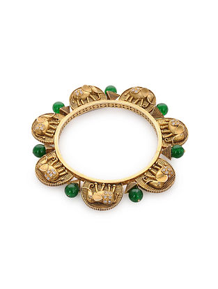 Green Gold Plated Silver Bangle (Bangle Size: 2/4)