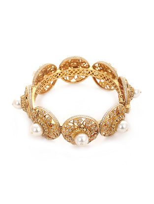 Gold Plated Silver Bangle with Pearls (Bangle Size: 2/4)