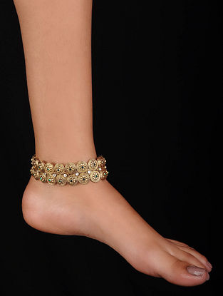 Green Gold Plated Silver Anklets (Set of 2)