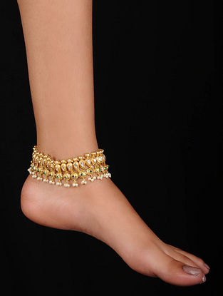 Green Gold Plated Silver Anklets with Pearls (Set of 2)