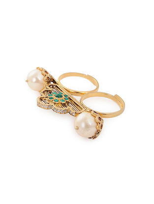 Green Gold Plated Silver Adjustable Ring with Pearls