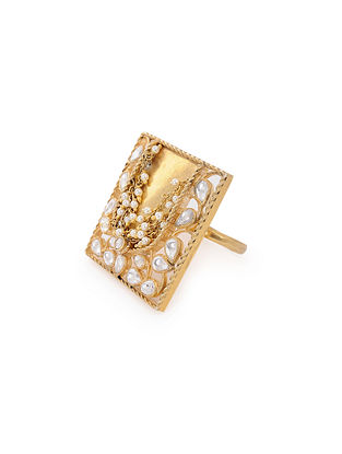 Gold Plated Silver Adjustable Ring with Pearls