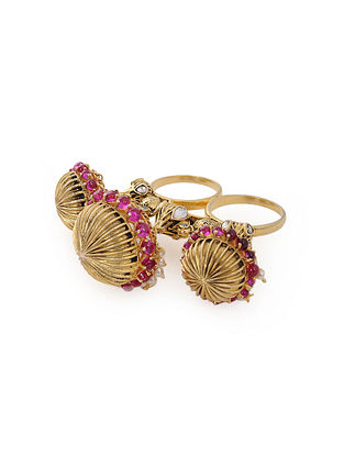 Maroon Gold Plated Silver Adjustable Ring with Pearls