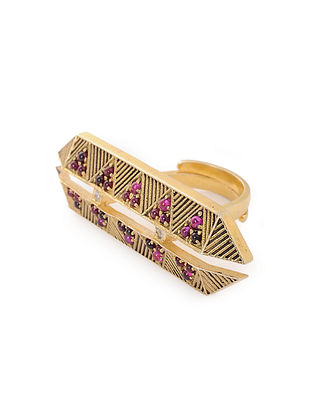 Maroon Gold Plated Silver Adjustable Ring
