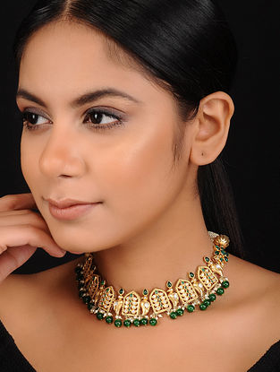 Green Gold Plated Silver Necklace with Pearls