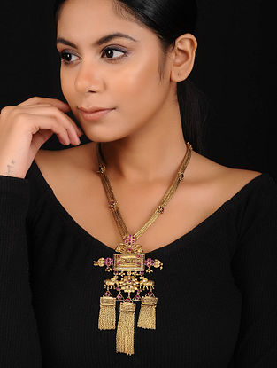 Maroon Gold Plated Silver Necklace