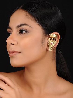 Maroon Gold Plated Silver Ear Cuffs