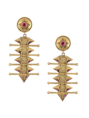 Maroon Gold Plated Silver Earrings