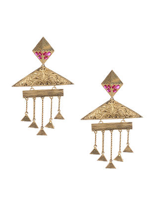 Pink Gold Plated Silver Earrings