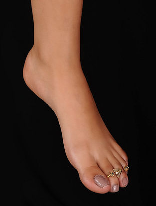 Green Gold Plated Silver Adjustable Toe Ring