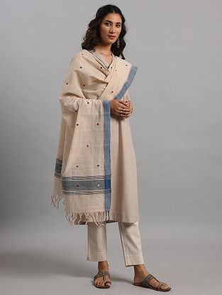 Ivory-Blue Natural Dyed Cotton Dupatta