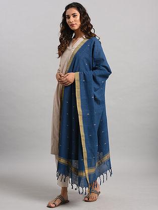Blue-Beige Natural Dyed Cotton Dupatta