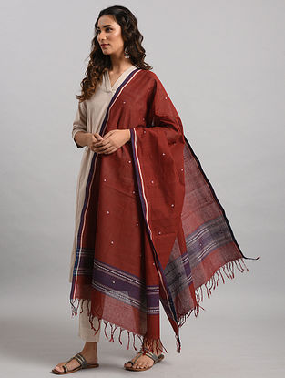 Maroon-Blue Natural Dyed Cotton Dupatta