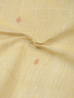 Beige-Red Natural-dyed Khadi Cotton Jamdani Fabric
