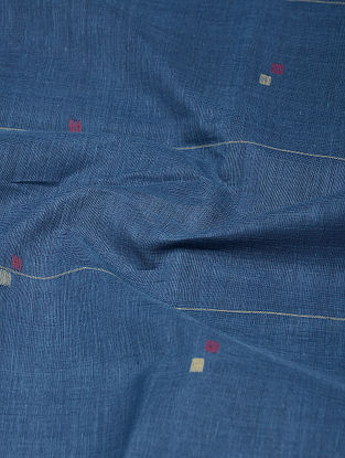 Indigo-Red Natural-dyed Khadi Cotton Jamdani Fabric