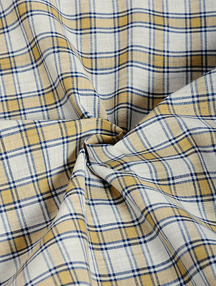 Ivory-Yellow Checkered Cotton Fabric