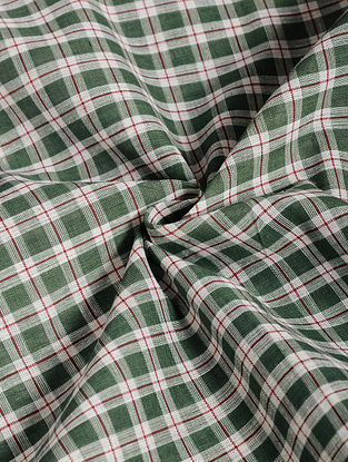 Ivory-Green Checkered Cotton Fabric
