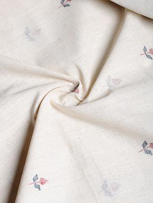 Ivory Hand woven Jamdani Cotton Fabric