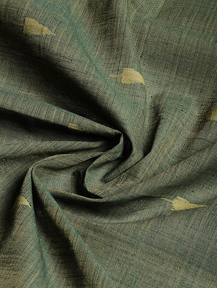 Green Hand woven Natural dye Jamdani Cotton Fabric