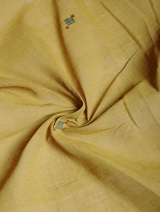 Yellow Hand woven Natural dye Jamdani Cotton Fabric