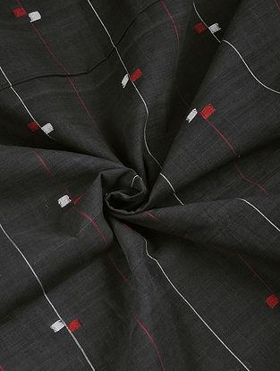 Charcoal Hand woven Natural dye Jamdani Cotton Fabric