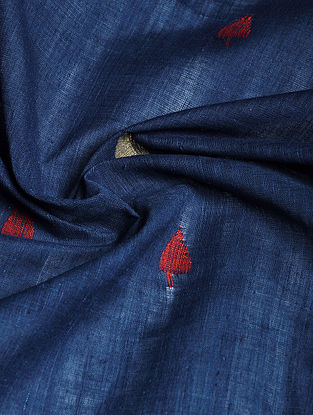Indigo Hand woven Natural dye Jamdani Cotton Fabric