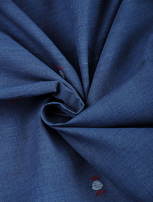 Indigo Hand woven Natural dye Jamdani Cotton Fabric