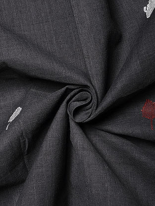 Charcoal Handwoven Jamdani Cotton Fabric