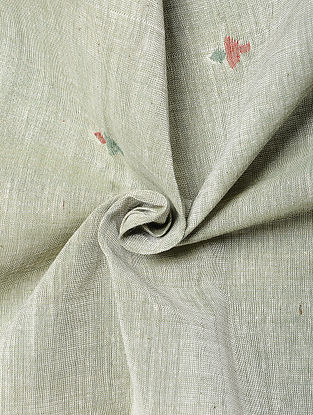 Grey Handwoven Jamdani Cotton Fabric