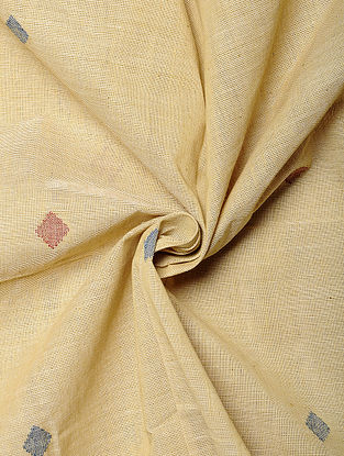 Yellow Handwoven Jamdani Cotton Fabric