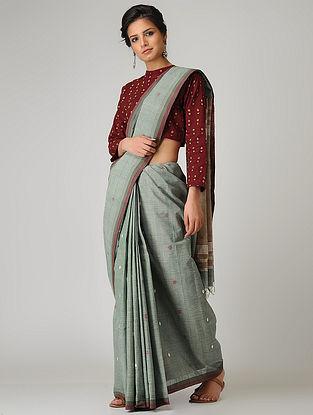 Grey-Beige Khadi Cotton Jamdani Saree