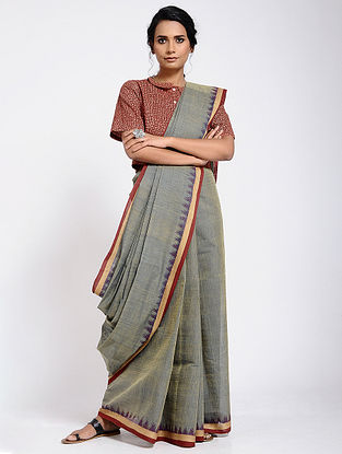 Grey-Red Cotton Saree