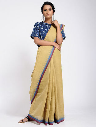 Beige-Blue Cotton Saree