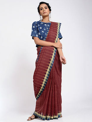 Red-Blue Cotton Saree
