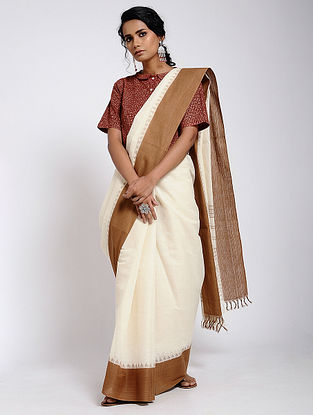 Ivory-Brown Cotton Saree